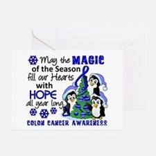 Holiday Penguins Colon Cancer Greeting Card
