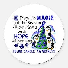 Holiday Penguins Colon Cancer Round Car Magnet
