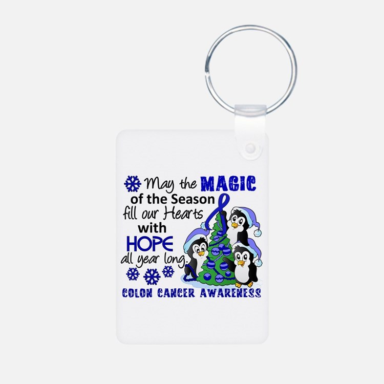 Holiday Penguins Colon Cancer Keychains