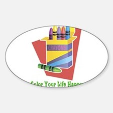 A Happy Life Oval Decal