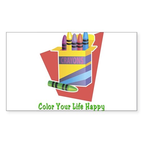A Happy Life Rectangle Sticker