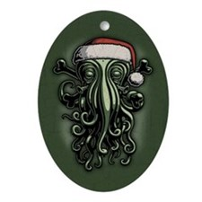 cthulhu-claus-T.png Ornament (Oval)