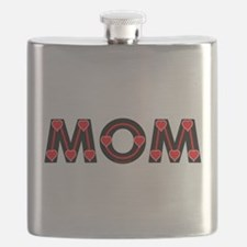 Mom Red Hearts Flask