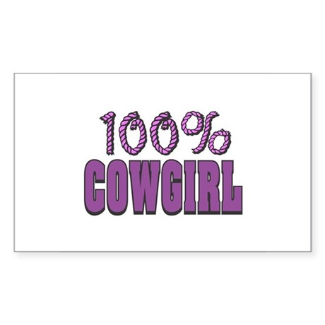 100% CowGirl Rectangle Sticker