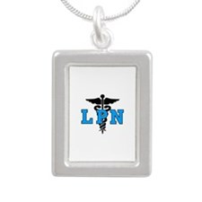 LPN Medical Symbol Silver Portrait Necklace