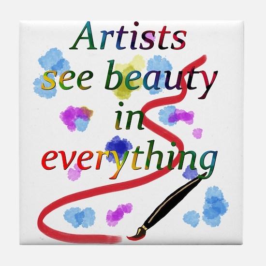 Artists See Beauty Tile Coaster