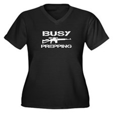 Busy Prepping Gun Women's Plus Size V-Neck Dark T-