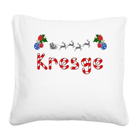 Kresge, Christmas Square Canvas Pillow