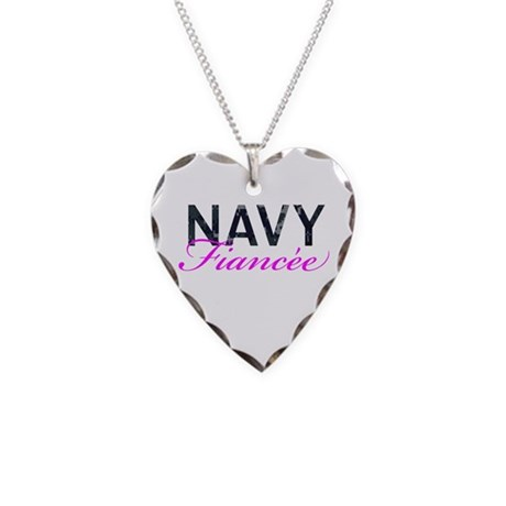 Navy Fiancee Necklace Heart Charm