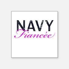 "Navy Fiancee Square Sticker 3"" x 3"""