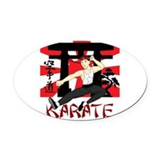 Karate Oval Car Magnet