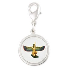 Winged Maat Silver Round Charm