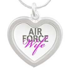 Air Force Wife Silver Heart Necklace