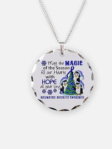Holiday Penguins RA Necklace Circle Charm