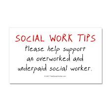 Social Work Tips Car Magnet 20 x 12