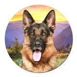 German shepherd Round Car Magnets