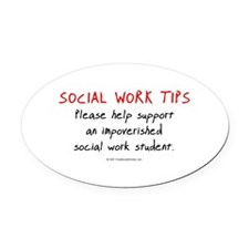 Social Work Tips-Students Oval Car Magnet