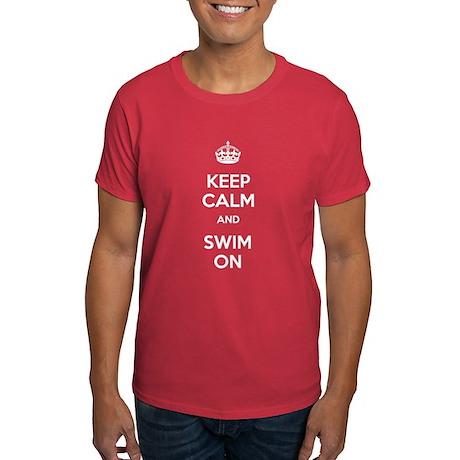 Keep Calm and Swim On Dark T-Shirt
