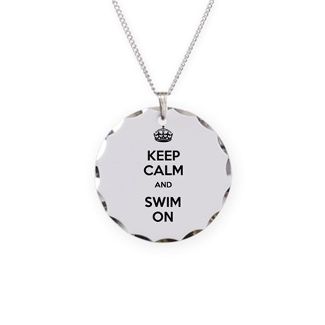 Keep Calm and Swim On Necklace Circle Charm