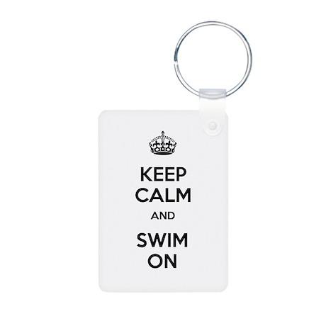 Keep Calm and Swim On Aluminum Photo Keychain