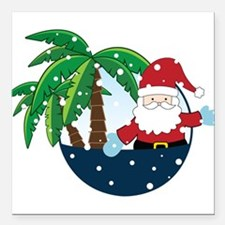 """Christmas In Paradise Square Car Magnet 3"""" x 3"""""""