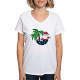 Christmas women palm trees Womens V-Neck T-shirts