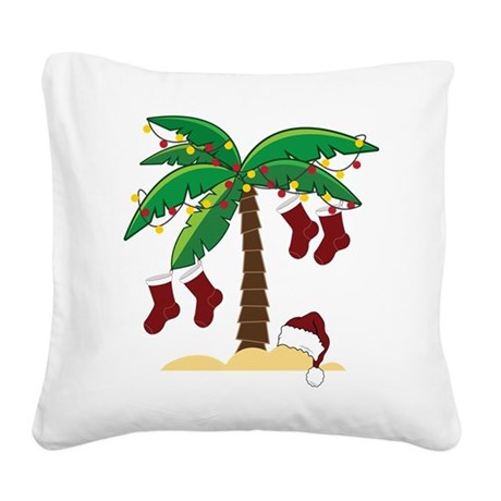 Tropical Christmas Square Canvas Pillow