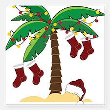 """Tropical Christmas Square Car Magnet 3"""" x 3"""""""