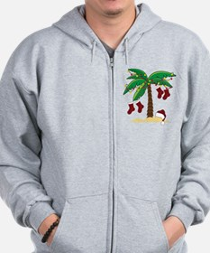 Tropical Christmas Zip Hoodie