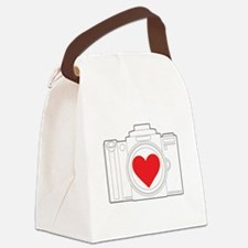 Camera Heart Canvas Lunch Bag