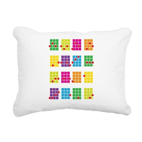Uke Chords Colourful Rectangular Canvas Pillow