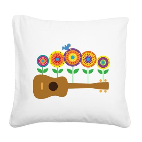 Ukulele Flowers Square Canvas Pillow