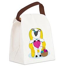 Sheep Knitting Heart Canvas Lunch Bag