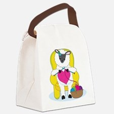 Sheep Knitting Heart Canvas Lunch Bag
