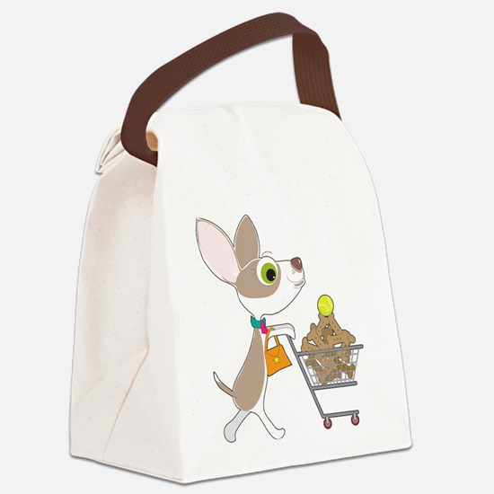 Chihuahua Shopping Canvas Lunch Bag