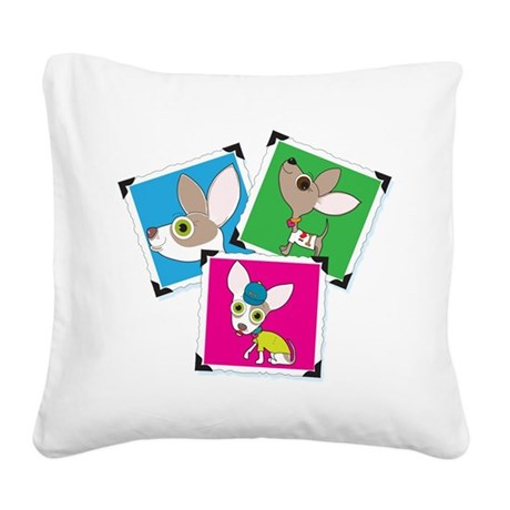 Chihuahua Photographs Square Canvas Pillow