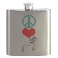 Peace Love Chinese Crested Flask