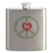 Peace Love Dachshund Flask