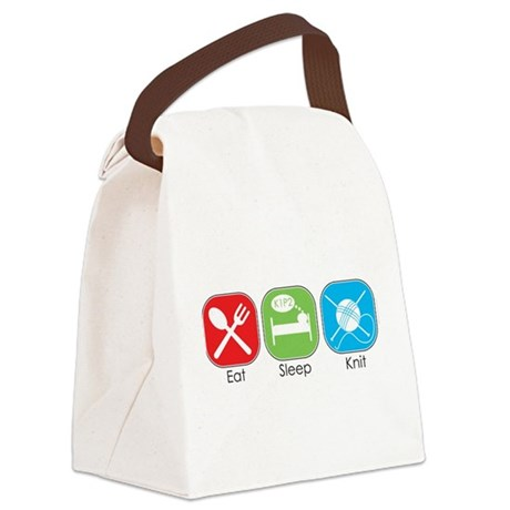 Eat Sleep Knit Canvas Lunch Bag