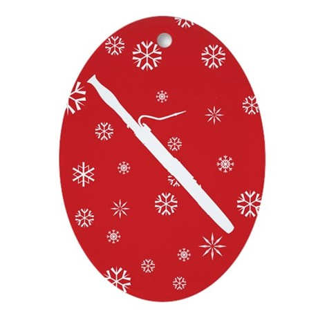Bassoon Snowflake - Red Oval Ornament