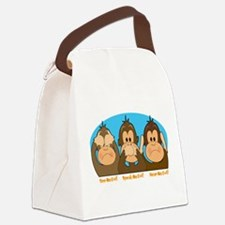 monkey see speak hear2.png Canvas Lunch Bag