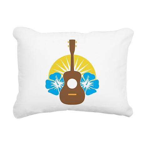 Ukulele Hibiscus Rectangular Canvas Pillow