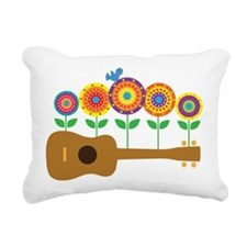 Ukulele Flowers Rectangular Canvas Pillow