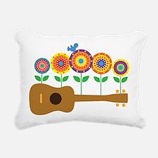 Ukulele Flowers Rectangular Canvas Pillow