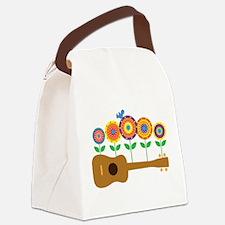 Ukulele Flowers Canvas Lunch Bag