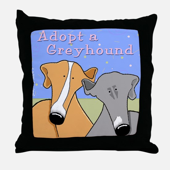 Adopt a Greyhound Throw Pillow