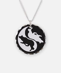 Border Collie Ying Yang Necklace