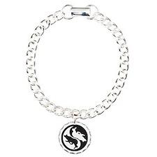Border Collie Ying Yang Charm Bracelet, One Charm