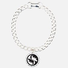 Border Collie Ying Yang Charm Bracelet, One Charm