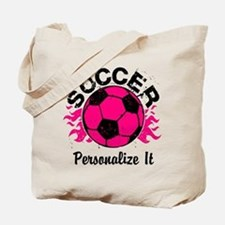 Personalized Soccer Flames Tote Bag